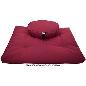 Zafu and Zabuton Meditation cushion Set, 100% Cotton or Hemp, Organic