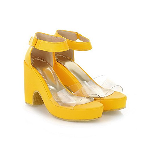 AllhqFashion Womens High-Heels Soft Material Solid Hook-and-Loop Open Toe Heeled-Sandals Yellow o9SkAJhtg