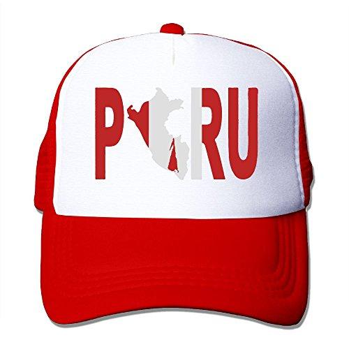 Men/Women Peru Peruvian Flag Mesh Snapback Hats Adjustable Hip-hop Cap