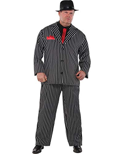 Amscan Adult Mob Boss Costume - Plus XXL (48-52), Black -