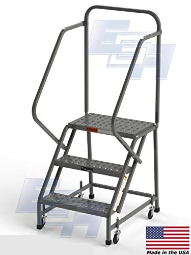 3-Step Steel Industrial Rolling Ladder, EGA L3020HKD, 16