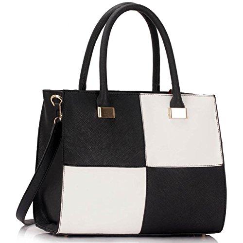 Xardi London design donne borse in pelle borse a tracolla da donna in stile college Girls Tote A4 Black/White