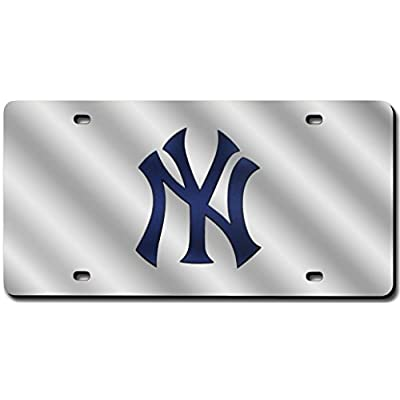 New York Yankees Deluxe Silver Mirrored Laser Cut License Plate: Automotive