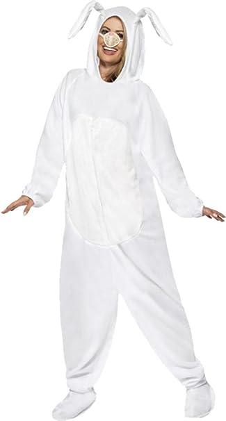 Unisex adultos Fancy vestido de fiesta Animal sexy de color blanco disfraz de conejo de Pascua
