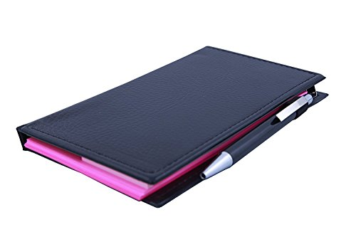 Coi memo neon Pink Note Book with Sticky Notes & Clip Holder in Diary Style with Free Pen (Pink)