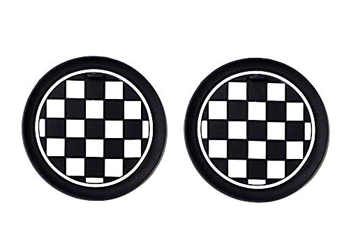 iJDMTOY (2 78mm Black/White Checkered Checkerboard Pattern Soft Silicone Cup Holder Coasters For MINI Cooper R61 Paceman F55 F56 3rd Gen Front Cup Holders