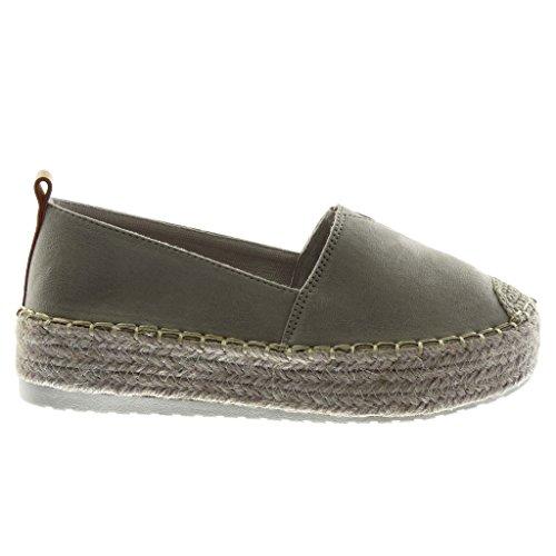 5 Corde Chaussure Surpiqûres Plat Femme matière Bi Cm Angkorly Plateforme Finition Talon Élastique Gris Coutures Espadrille 4 Mode 0xvxqFZ