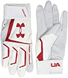 Under Armour Men's Yard Base Ball Gloves, White (102)/Red, Small/Medium