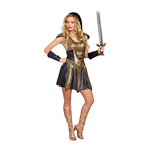 Dreamgirl Women's Deadly Warrior Costume, Black/Gold, Small -