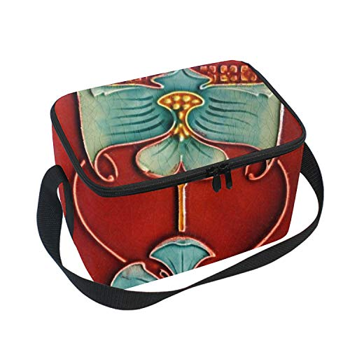 - Lunch Bag Insulated Lunchbox Cooler Pouch Shopper Tote Red Tile Portable Fashion Handbag for School Work