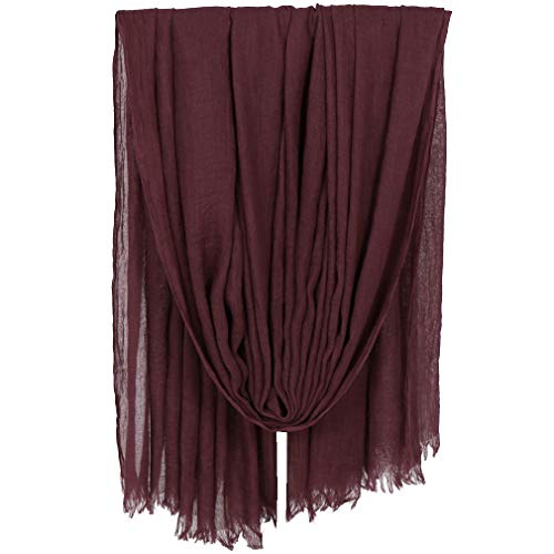 Lightweight Crinkle Scarf - LMVERNA Women Scarfs Large Long Lightweight Fringed Headscarf Linen Gauze Sheer Shawls And Wraps(Maroon)