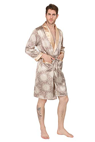 MAGE MALE Men's Summer Home Luxurious Robe Nightgown Thin Spa Long-Sleeve Pajamas Plus Size Bathrobes (Gold, ()