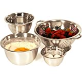 Heuck 4-Piece Stainless Steel Mixing Bowl and Colander Set /Model:36156HL