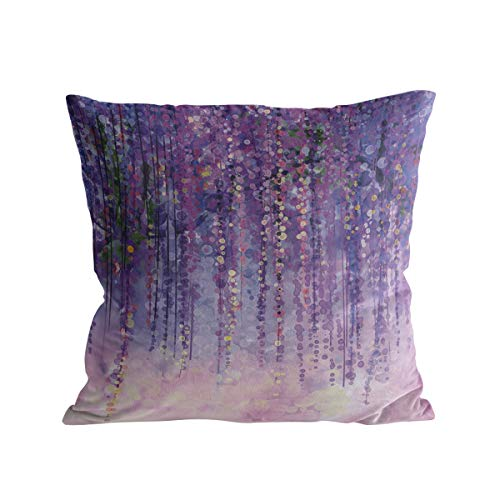 Square Throw Pillow Cover with Zipper for Girl/Boy/Kid/Couple/Couch/Chair/Bed/Dining/Living Room, Purple Abstract Oil Painting Decorative Soft Short Plush Cushion Cover Pillow Case 16x16in