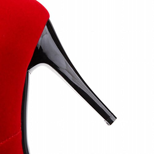 Mee Shoes Damen Stiletto Nubukleder Strass Plateau Knöchelstiefel Rot