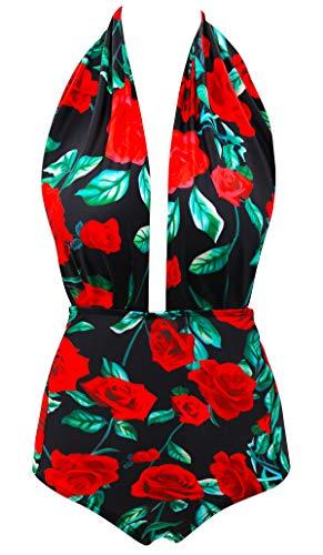 Halter Striped Thongs - Striped Push Up Swimwear Swimwear Monokini Forest Green Leaves Print Vintage Thong For Girls