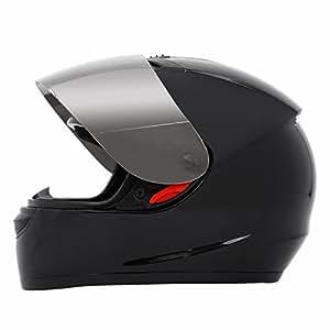 PanelTech DOT Black Mirror Visor Full Face Adult Helmet for Motorcycle Bike (XL)