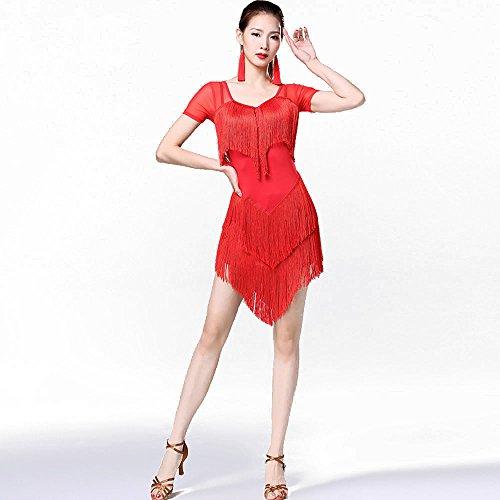 Costume Vestito Per Samba Performance Rumba Latino Abbigliamento Da Donne Ballo Abito Ballo Con Red Da Rosso Nero M Gongxi Nappine wO8qgW
