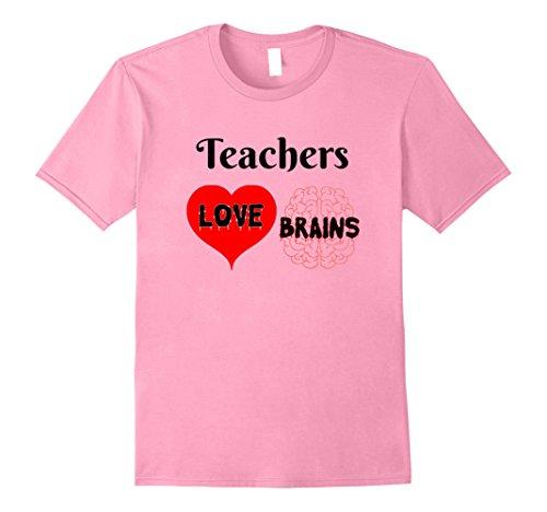 Mens Teachers Love Brains Cute Halloween Gift for Teachers Small Pink