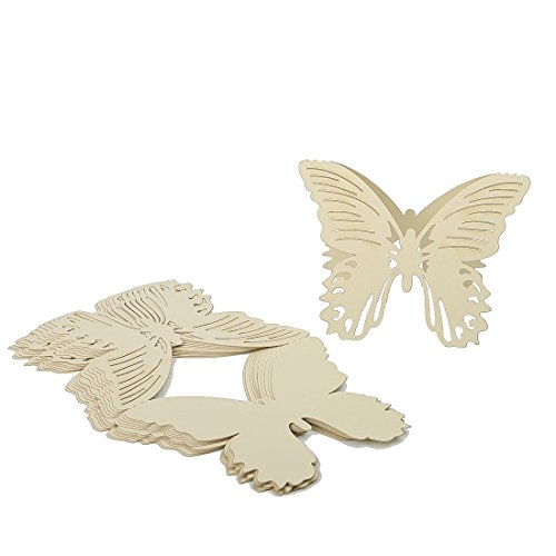 Butterfly Laser Cut Wedding Party Name Setting Place Cards Table Decoration (White Gold, 60pcs)