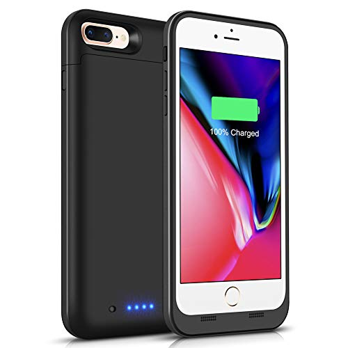 iPhone 8 Plus / 7 Plus Battery Case 7000mAh, Gasopic Extended Rechargeable Charger Case External Battery Pack Portable Power Bank Protective Charging Case for iPhone 7 Plus, 8 Plus (5.5inch)-Black
