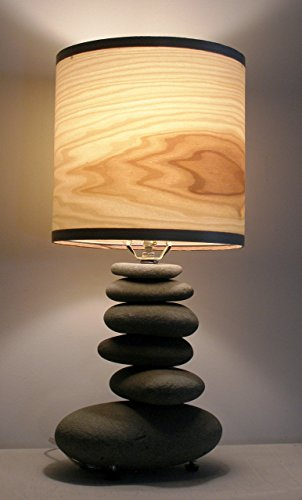 Alaska beach-stone lamp with poplar wood veneer shade. (Veneer Table Wood Shade Lamp)