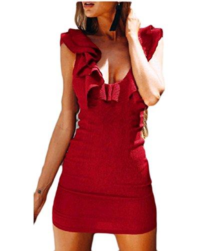 Coolred-femmes Backless Couleur Unie Sexy Paquet Sans Manches Robe À Volants De La Hanche Rouge