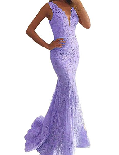 Mermaid Lace Evening Gowns Formal Long V Neck Beaded Backless Prom Dresses 2018 Lavender Size 12