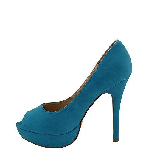 Unbekannt Women's Peep-Toe Blue ecmZGS