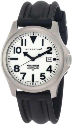 - Momentum Men's 1M-SP00W1 Atlas White Dial Black SLK Rubber Watch