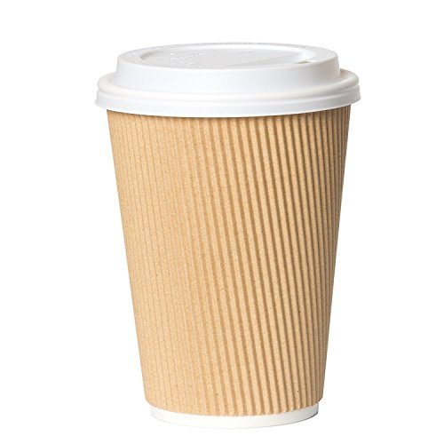 12 oz Paper Coffee Cups with Lids - 50 Disposable Khaki Ripple Cups