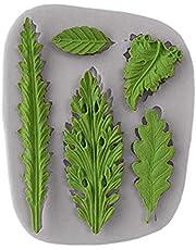Koogel Tree Leaf mold Cake Fondant Silicone Mold Fondant Clay Mould Leaf Shape 3D Chocolate DIY Decorating tool(Gray)