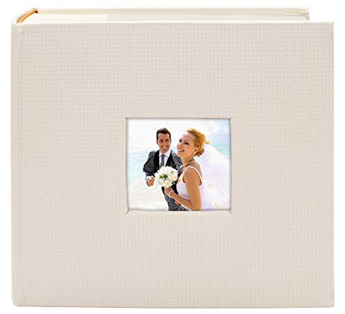 Golden State Art, Wedding Family Baby Holiday Photo Album Christmas, Vacation, Anniversary Photography book for 200 4x6 Pictures Pockets with Memo, 2 Per Page Large Capacity Embossed Cover(White)