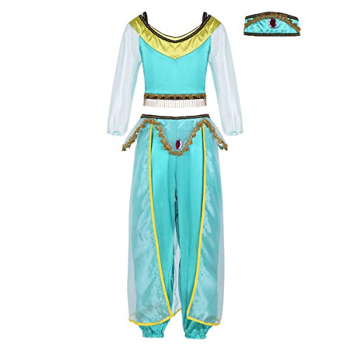 Agoky Girls Fairy Glittery Sequined Princess Jasmine Costumes for Halloween Cosplay Party Lake Blue -