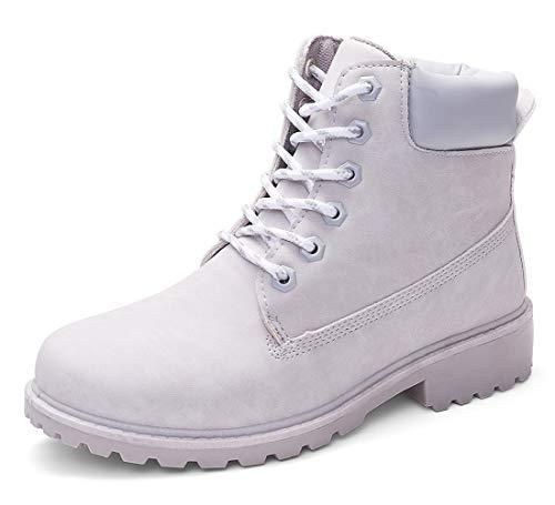 (DADAWEN Women's Lace Up Low Heel Work Combat Boots Waterproof Ankle Bootie Light Grey US Size 8.5)