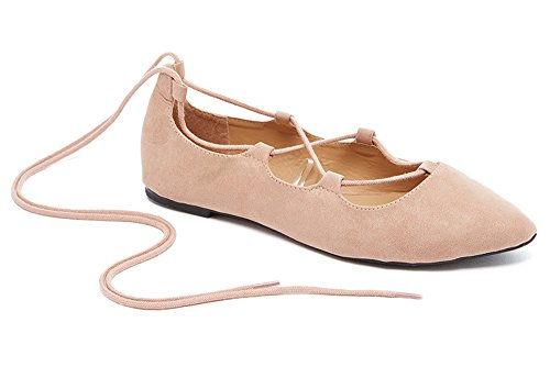 Charles Albert Ghille Lace Up Pointy Toe Leg Tie Ballet Flat (10, Nude)