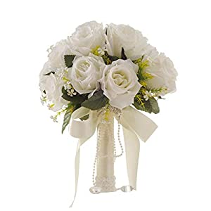 White Artificial Flower Wedding Bride Holding Flowers Hand Bouquet 106