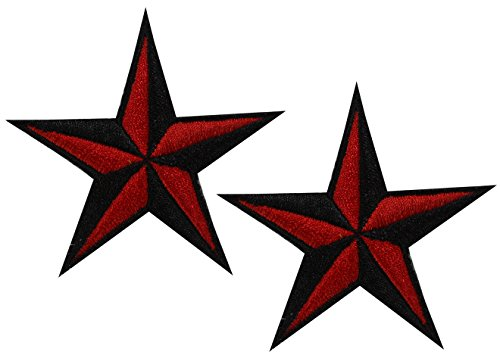 (pair embroidered Nautical Star Rockabilly sew iron on patch badge Sailor Tattoo)