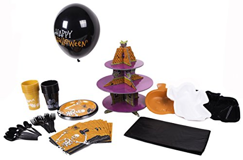 Halloween Party Pack 86-Piece Party Pack Kids (and Moms) Will Love. Everything You Need—and More—to Throw an Awesome (and Easy) Halloween Party (16 place (Ghost Town Halloween Party)