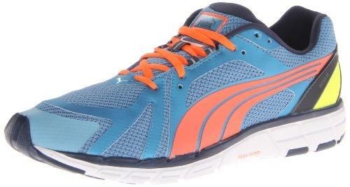 PUMA Men's Faas 600 S Running Shoe,Metallic Blue/Insignia Blue/Coral/Fluorescent Yellow,12 M US