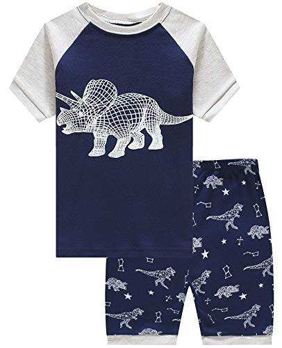 - Boys Short Pajamas Dinosaur Glow in The Dark Toddler Pjs Clothes Kids Sleepwear Summer Shirts Size 6