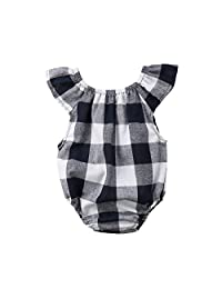 Imcute Toddler Newborn Baby Girls Plaid Outfit Short Sleeve Romper Jumpsuit Playsuit