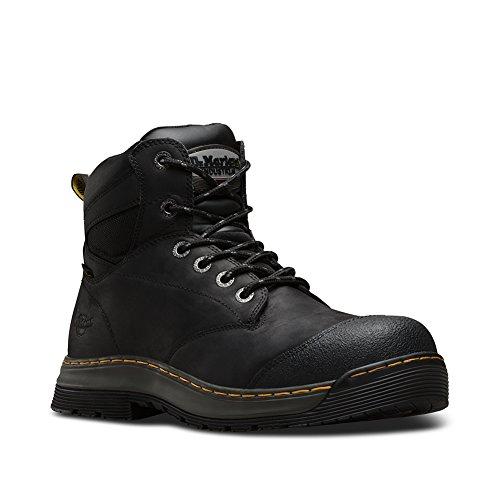 Dr Marten Hiker Boots - Dr. Martens Men's Deluge EH ST 6 Eye Work Boots, Black, Leather, Rubber, 7 M UK, 8 M US
