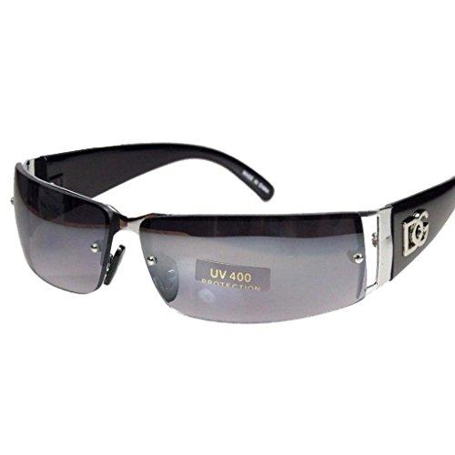 NEW DG MENS WOMENS RECTANGULAR RIMLESS DESIGNER SUNGLASSES SHADES EYEWEAR COLOR-Silver/Black lens