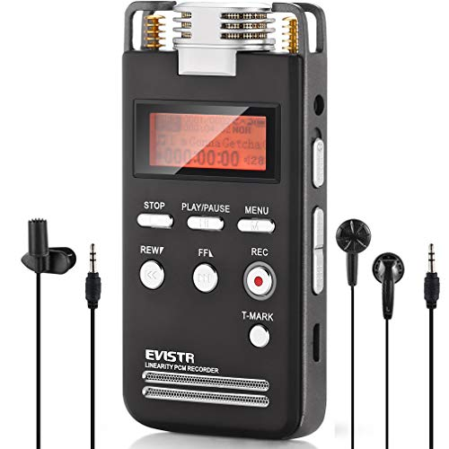 EVISTR Voice Recorder 8GB PCM 1536K Clear Stereo Audio, L53 Voice Activated Recorder Digital Dictaphone Recorder Portable Recording Device Double HD Adjustable Microphone, Noise Reduction (Quality Recorder)