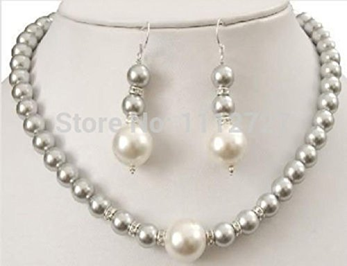 Triple Swarovski Earrings - Prime Leader Jewelry Set Charming 2015 New Prety 8-12Mm Grey Sea Shell Pearl Necklace +Earring Beads Natural Stone Aaa Bv389