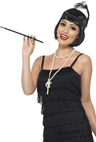Smiffy's Women's Flapper Instant Kit, Wig, Necklace, Headpiece and Cigarette Holder, One Size, Colour: Black, 33551 - Flapper Kit