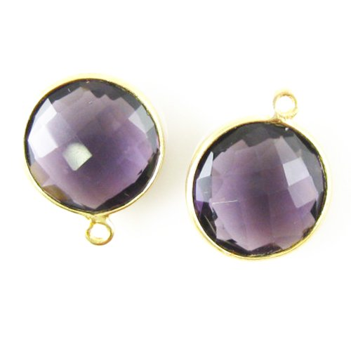 Gemstone Pendant - 14mm Faceted Coin Shaped Charm - Amethyst Quartz (Sold Per 2 Pieces)