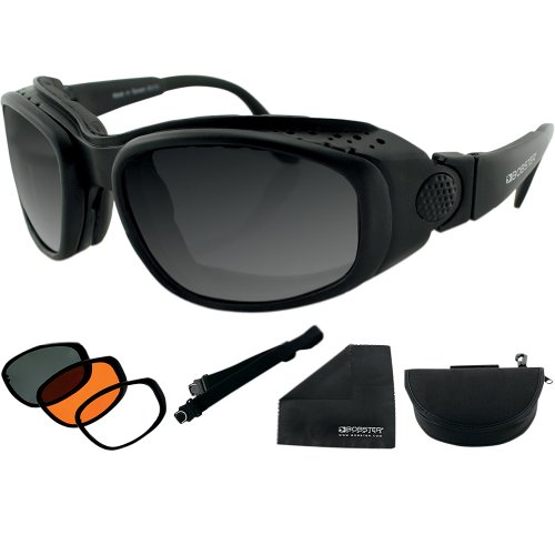 Bobster Sport & Street Adult Convertible Sports Sunglasses - Black/Smoke/Amber/Clear / One Size Fits All