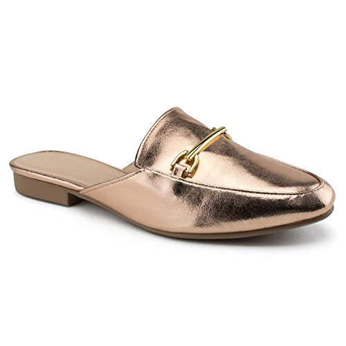 Slides Women's Leather OF Flats Low RF On ROOM Vegan Gold FASHION Stacked Loafer Rose Slip Heel Mule Backless tT5OPqwO